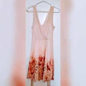 LC Lauren Conrad Pink Floral Tie Waist Mini Dress